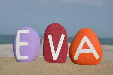 Eva,  female given name on colored stones