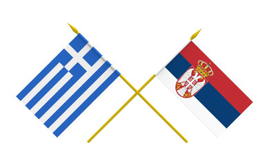 Flags, Greece and Serbia