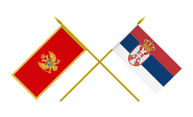 Flags, Montenegro and Serbia