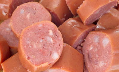 Close view of smoked sausage chunks