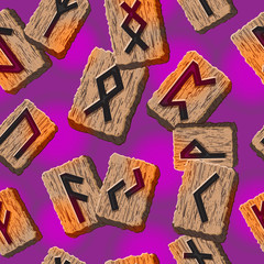 Norwegian runes Abstract vector background with Template for