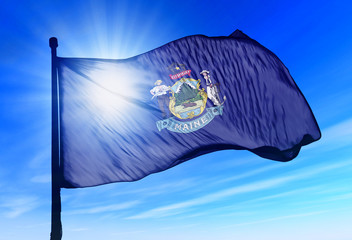 Maine (USA) flag waving on the wind