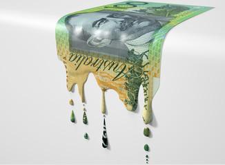 Australian Dollar Melting Dripping Banknote