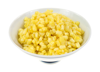 Buttered small shoepeg corn in bowl