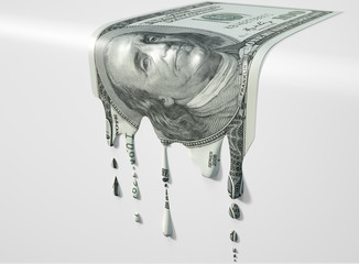 US Dollar Melting Dripping Banknote