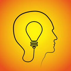 Human head thinking a new idea. Creative Idea. vector