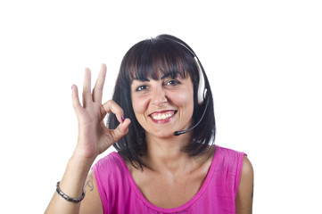 Portrait of happy smiling cheerful customer support