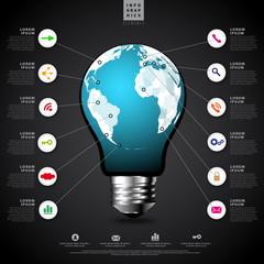 World Map,World atlas in tungsten light bulb infographics concep