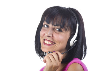 Woman support phone operator in headset, at office