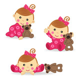 baby girl bear action - vector  illustration, eps