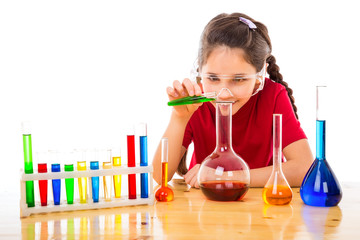 Girl making chemical experiments
