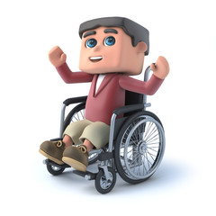 3d Boy in wheelchair raises a cheer