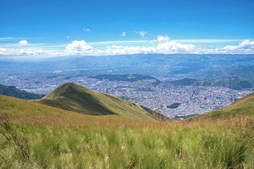 Slope of the Pichincha mountain with Quito in back