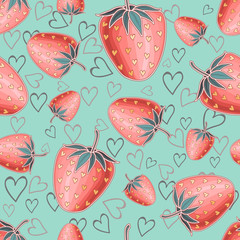Turquoise seamless background with red shiny strawberries