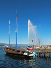 voilier et jet d'eau à Genève