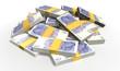 Leinwanddruck Bild - British Pound Sterling Notes Scattered Pile