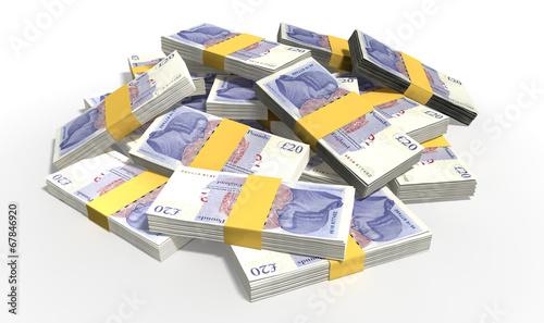 Leinwanddruck Bild British Pound Sterling Notes Scattered Pile