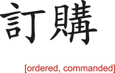 Chinese Sign for ordered, commanded