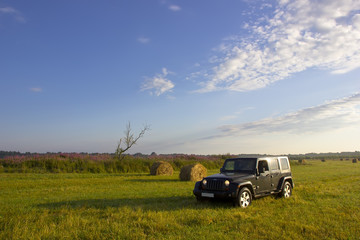 Jeep Wrangler in the field, Novgorod region ,Russia