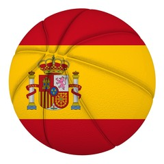 Basketball ball with Spain flag. Isolated on white.