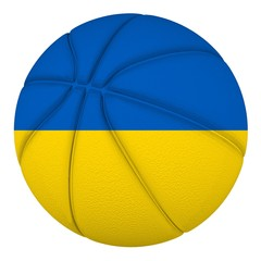 Basketball ball with Ukraine flag. Isolated on white.
