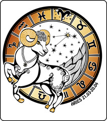 Aries and the zodiac sign .Horoscope circle. Illustration