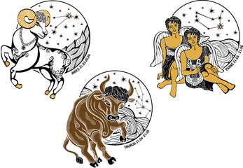 Aries,Taurus,Twins boys and the zodiac sign.Horoscope.Stars