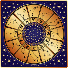 Horoscope circle.Zodiac sign and constellations.Retro