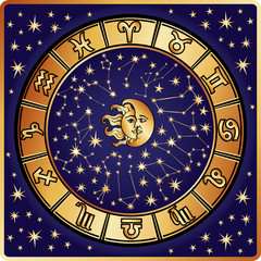 Horoscope circle.Zodiac sign