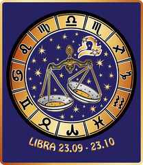 Libra zodiac sign.Horoscope circle.Retro Illustration