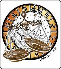 Libra zodiac sign.Horoscope circle.Vector Illustration