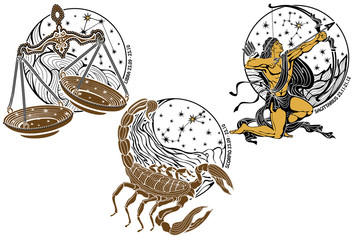 Libra,Scorpio,Sagittarius and the zodiac sign.Horoscope