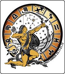 Sagittarius and zodiac sign on a white background.Horoscope circ