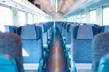 Blue train interior