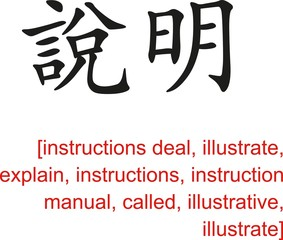 Chinese Sign for instructions deal, illustrate, explain