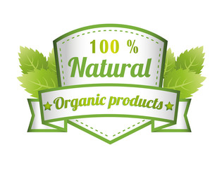 100% Natural Green Label Isolated Vector Illustration