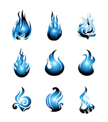 Blue Fire Symbol Icon Set. Vector Illustration