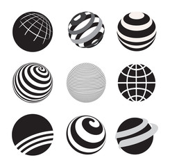 Black and White Icons Globe Vector Illustration