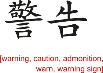 Chinese Sign for warning, caution, admonition,warn,warning sign