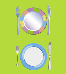 Empty Plate with Spoon, Knife and Fork Vector Illustration