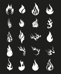 Fire Flames Set Icons Symbol
