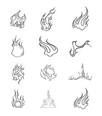 Fire Elements Outline Vector Set