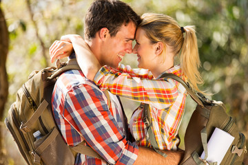 romantic young couple hiking together