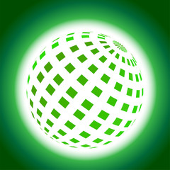 Green Planet Icon on Blue Background