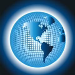 Globe Vector Grid Design on Blue Background