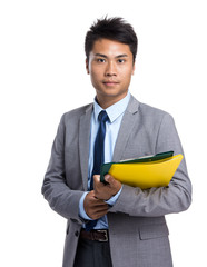 Asian man with file pad