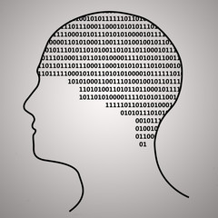 Brain with binary text