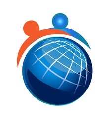 People and Globe Vector Icon