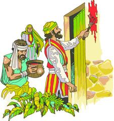 Hombre Judio pinta la fachada de su casa