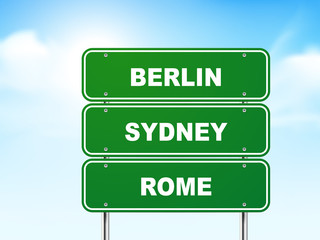 3d road sign with berlin, rome and sydney